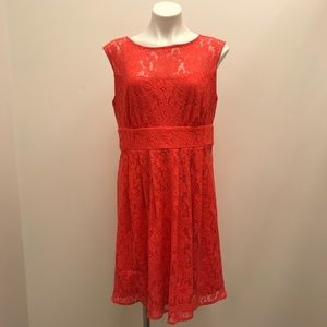 Dressbarn geranium coral lace keyhole back dress